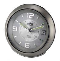 bateriový kovový budík bílá stříbrná