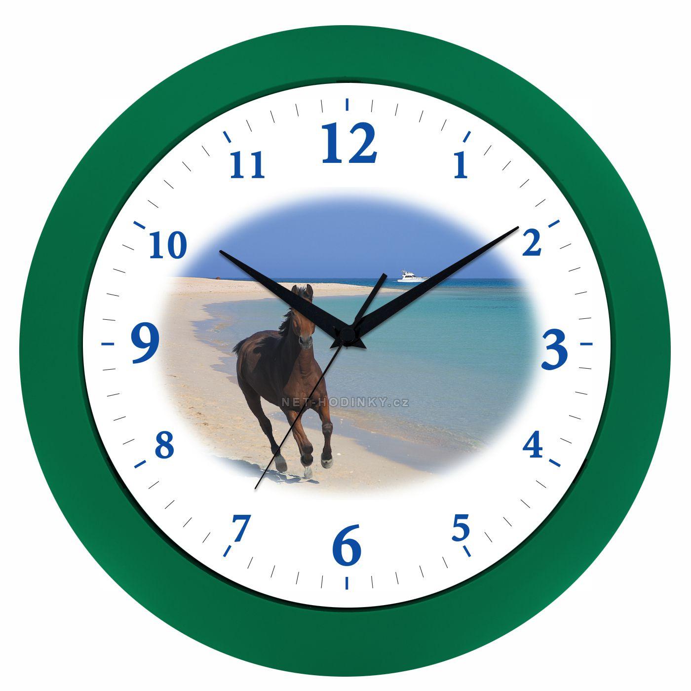 VIN Nástěnné hodiny na stěnu, nástěnné hodiny na zeď koník HJ17035 zelená