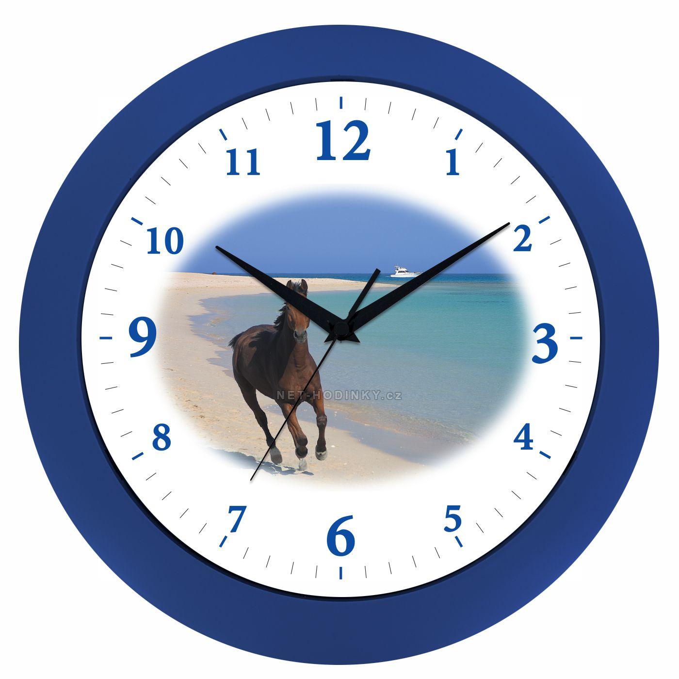 VIN Nástěnné hodiny na stěnu, nástěnné hodiny na zeď koník HJ17035 modrá
