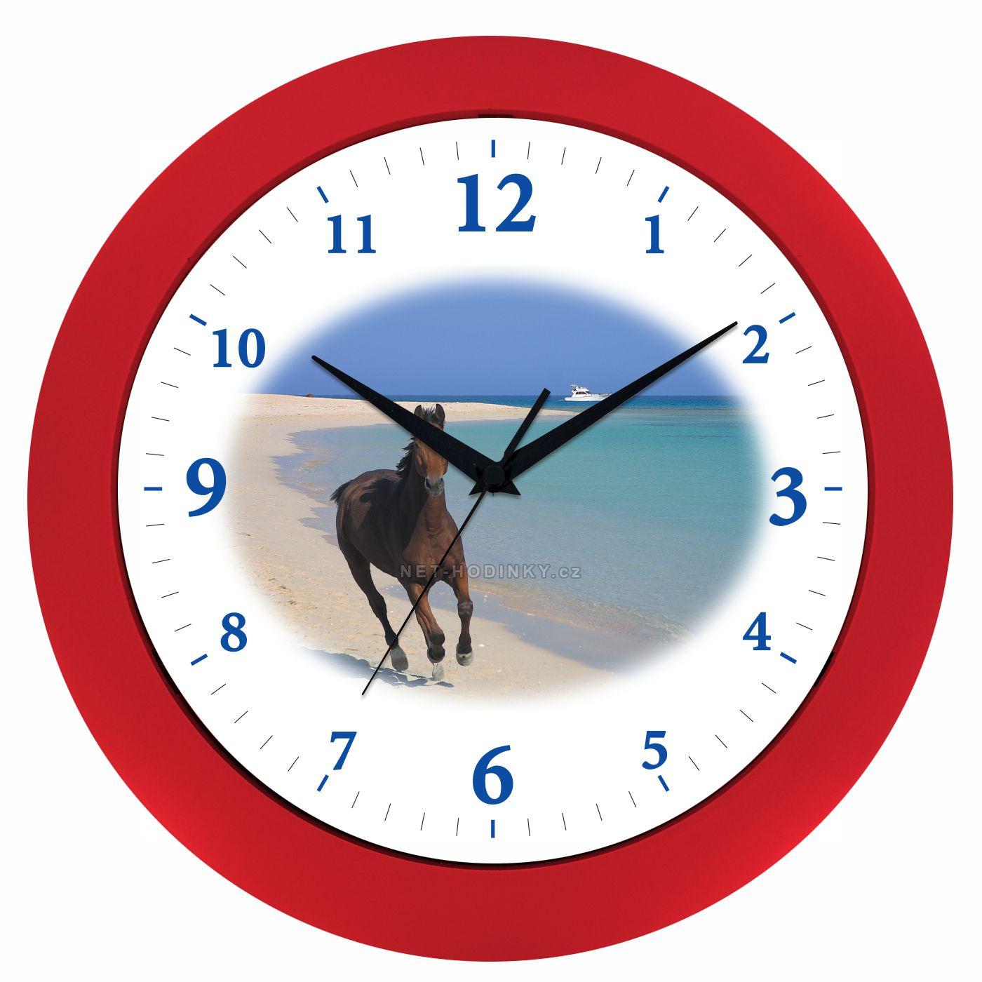 VIN Nástěnné hodiny na stěnu, nástěnné hodiny na zeď koník HJ17035 červená