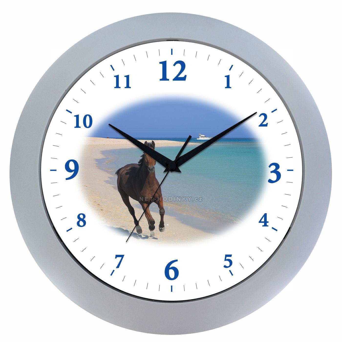 VIN Nástěnné hodiny na stěnu, nástěnné hodiny na zeď koník HJ17035 stříbrná