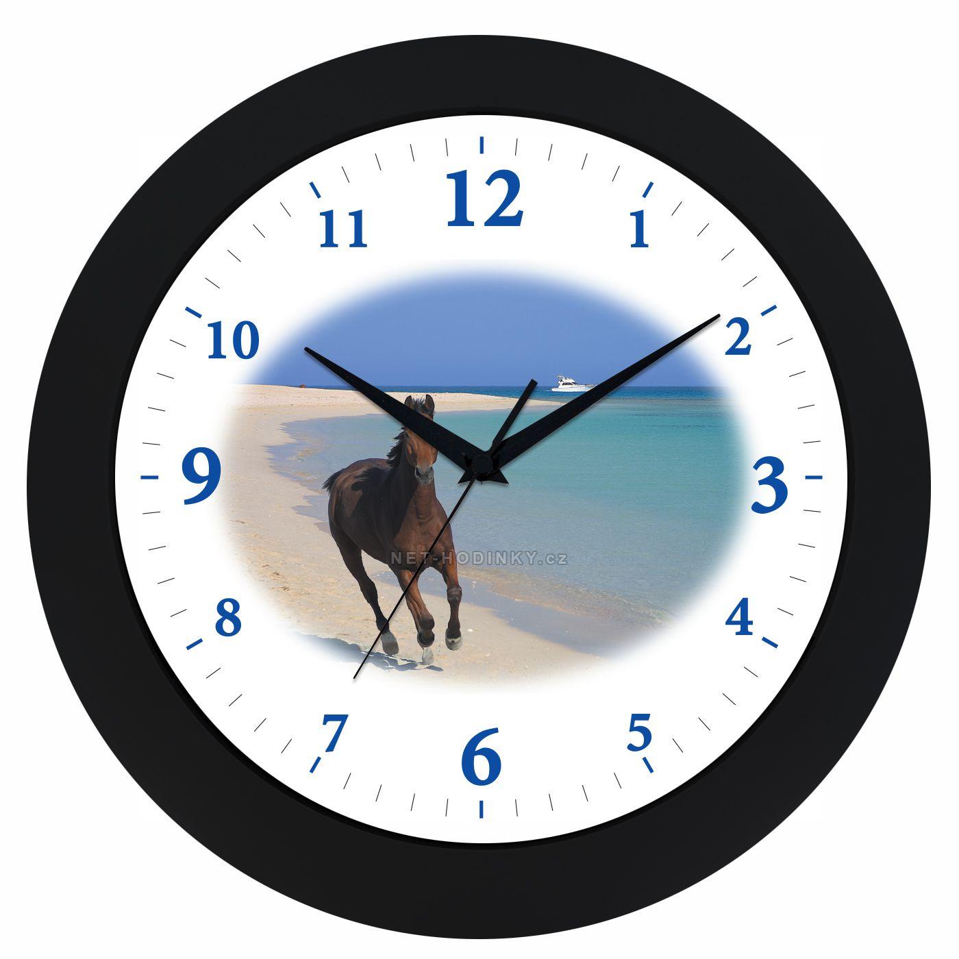 VIN Nástěnné hodiny na stěnu, nástěnné hodiny na zeď koník HJ17035 černá