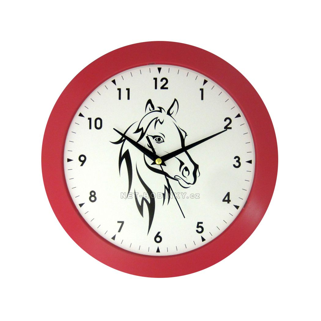 Nástěnné hodiny na stěnu, nástěnné hodiny na zeď hlava koně HJ27035 červená