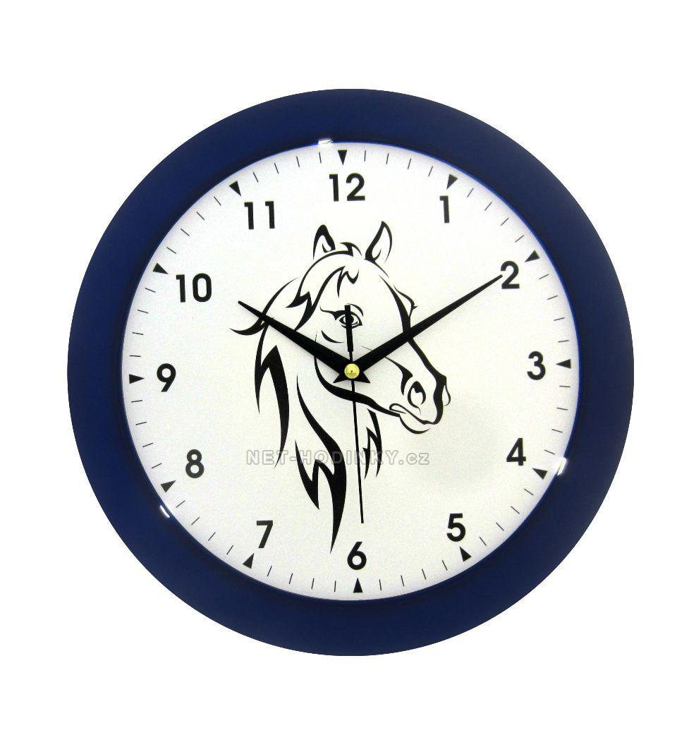 Nástěnné hodiny na stěnu, nástěnné hodiny na zeď hlava koně HJ27035 modrá