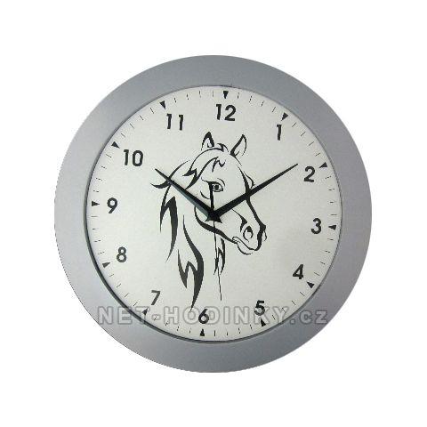 Nástěnné hodiny na stěnu, nástěnné hodiny na zeď hlava koně HJ27035 stříbrná