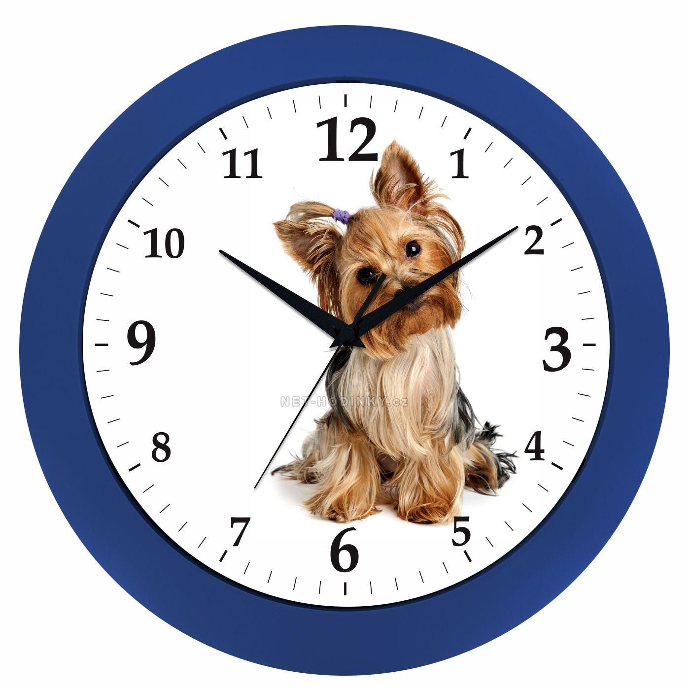 Nástěnné hodiny na stěnu, dětské hodiny S JORKŠÍREM hodiny na stěnu kulaté stříbrná jorkšír modrá