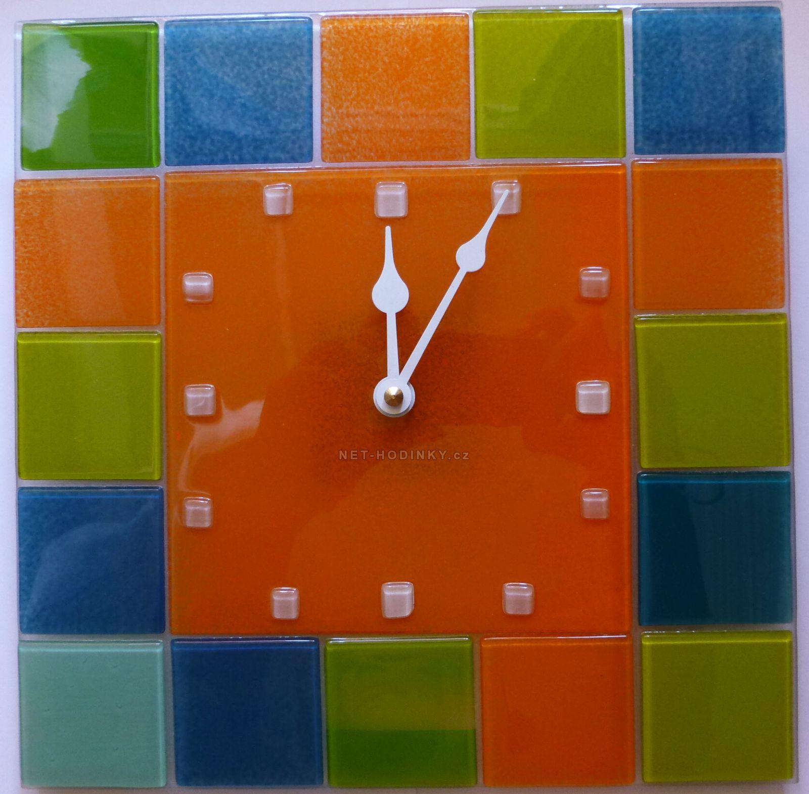 Nástěnné hodiny na stěnu, nástěnné hodiny na zeď čtvercové barevné