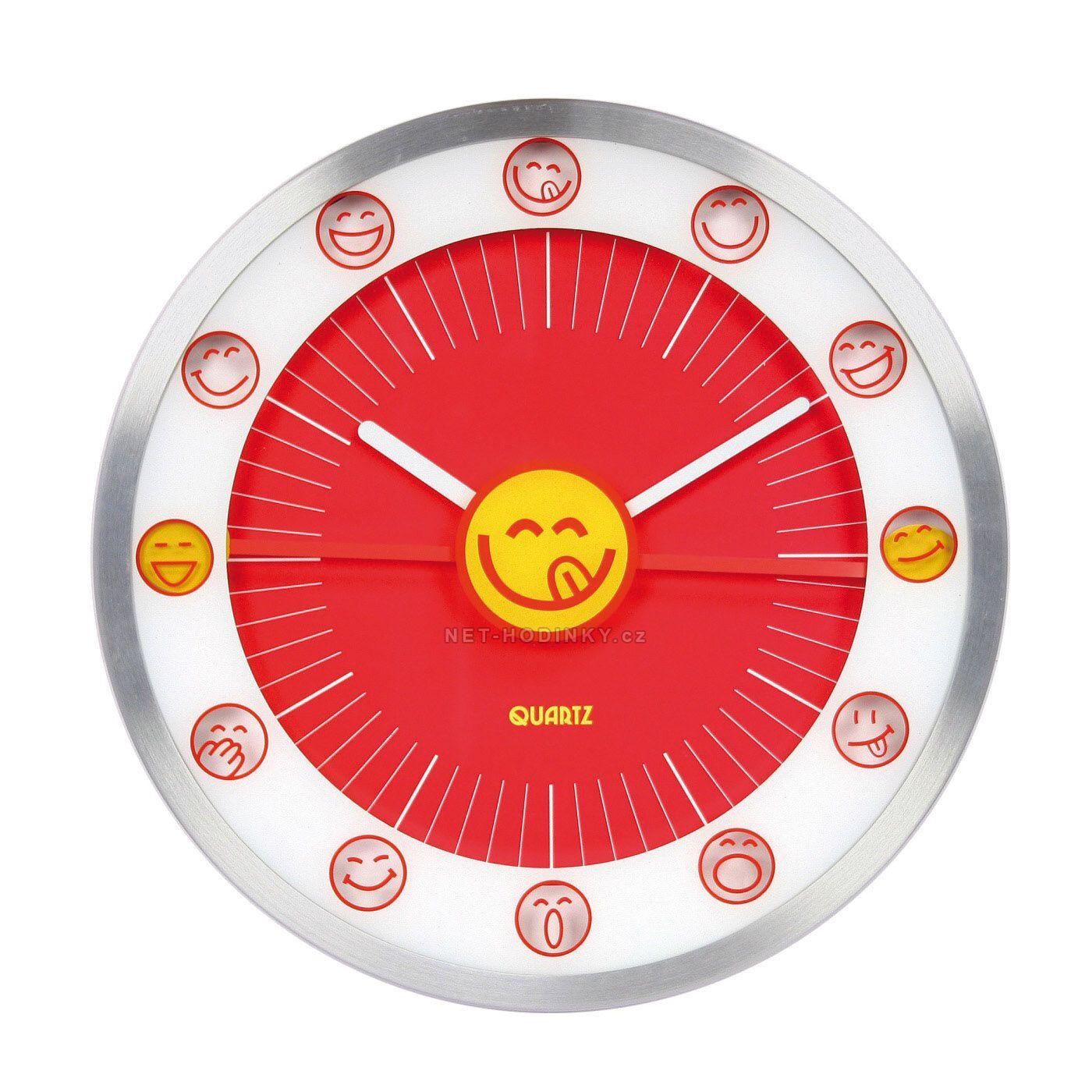 Nástěnné hodiny na stěnu, nástěnné hodiny na zeď, dětské hodiny HDA9009 červená