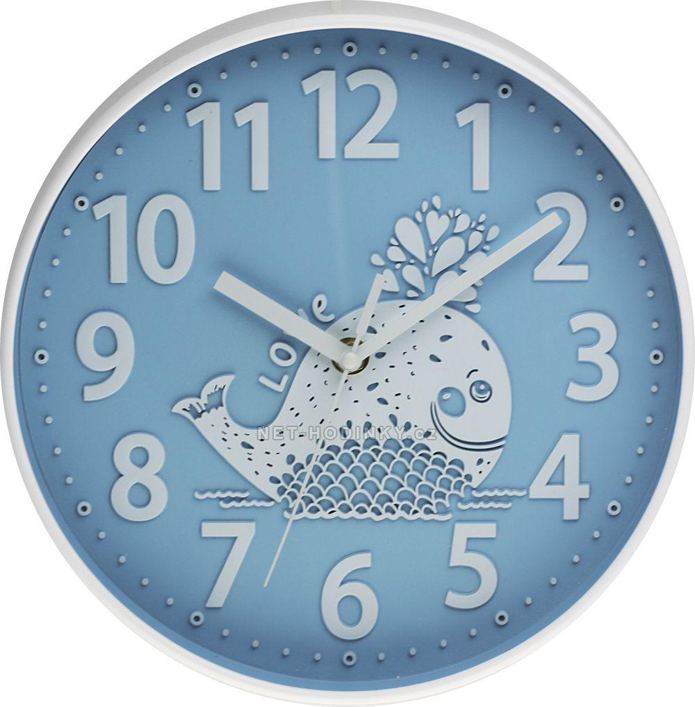 Nástěnné hodiny na stěnu, nástěnné hodiny na zeď, dětské hodiny E01.3229.30 - modrá