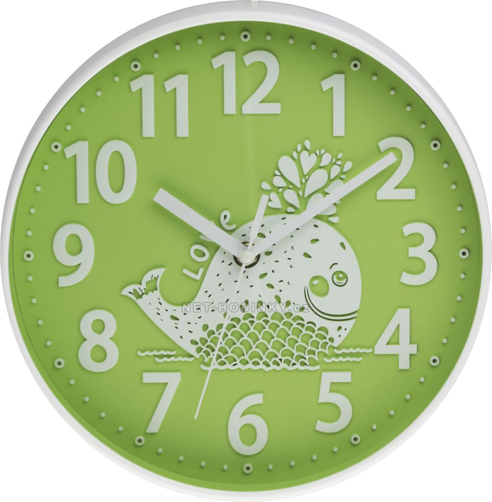 Nástěnné hodiny na stěnu, nástěnné hodiny na zeď, dětské hodiny E01.3229.40 - zelená