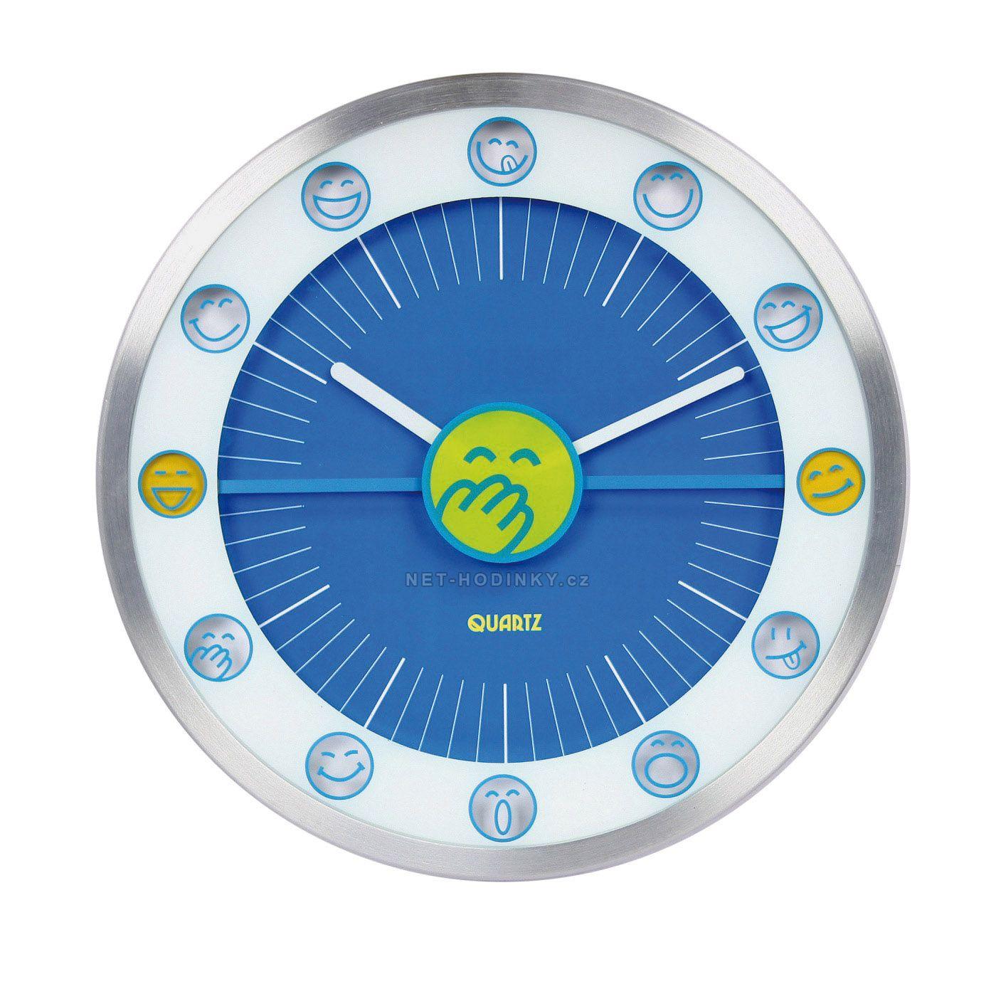 Nástěnné hodiny na stěnu, nástěnné hodiny na zeď, dětské hodiny HDA9007 modrá