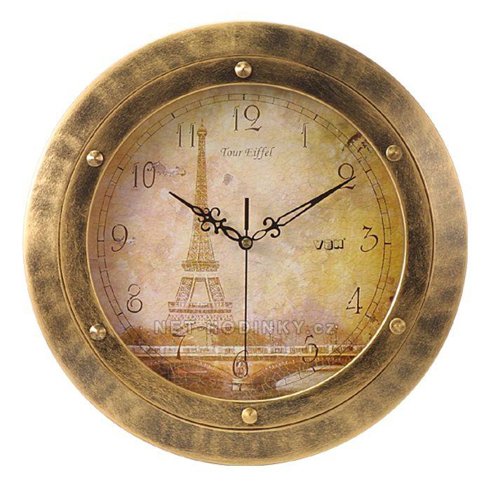 Nástěnné hodiny na stěnu, nástěnné hodiny na zeď motiv růže, mapa, eiffel věž, levandule eiffelová věž