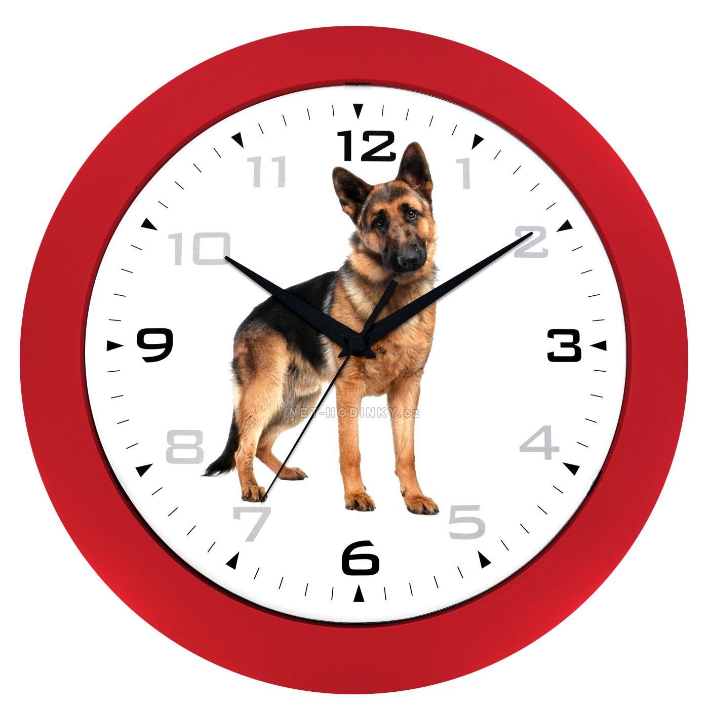 Nástěnné hodiny na stěnu, nástěnné hodiny na zeď motiv pes HJ28035 červená