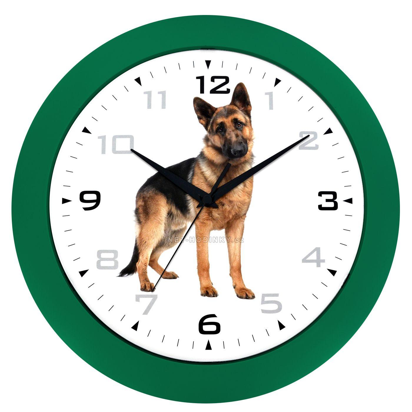 Nástěnné hodiny na stěnu, nástěnné hodiny na zeď motiv pes HJ28035 zelená