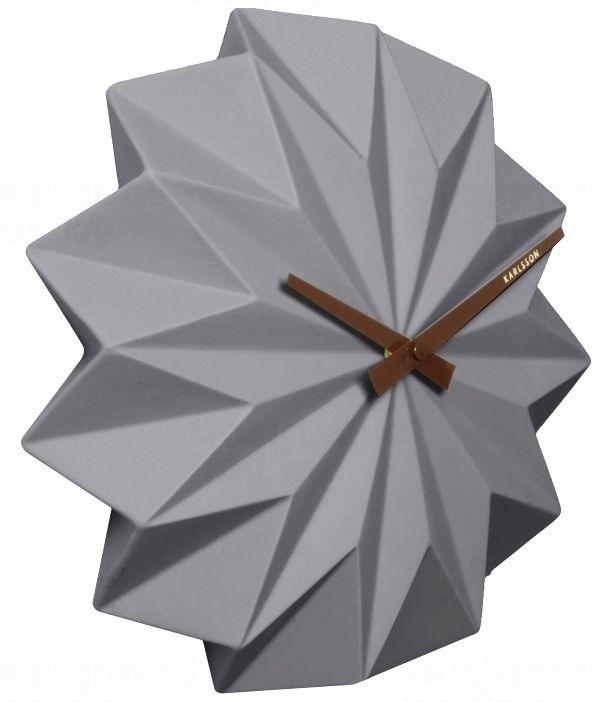 Nástěnné hodiny Designové nástěnné hodiny KA5531GY Karlsson Origami 27cm Nástěnné hodiny