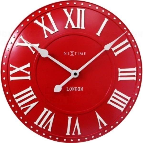 NeXtime Červené retro stylové hodiny v anglickém provedení Nextime 3083ro