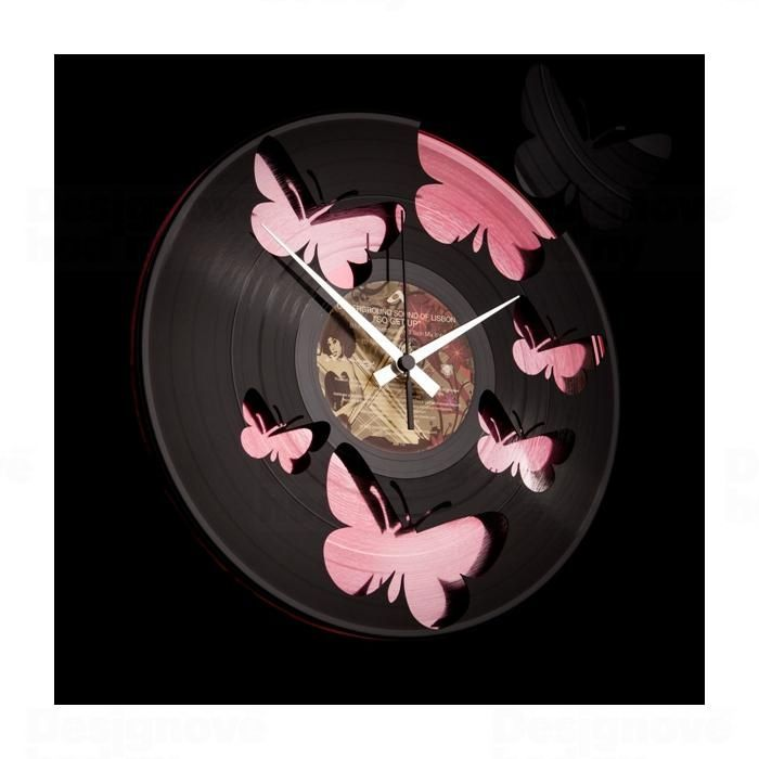Nástěnné hodiny Designové nástěnné hodiny Discoclock 056 Motýli Pink 30cm Nástěnné hodiny