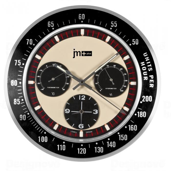 Lowell Italy Designové nástěnné hodiny s teploměrem a vlhkoměrem značky Lowell 14937