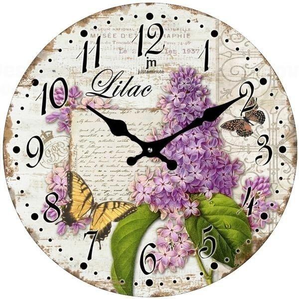 Lowell Italy Nástěnné hodiny s retro motivem květin
