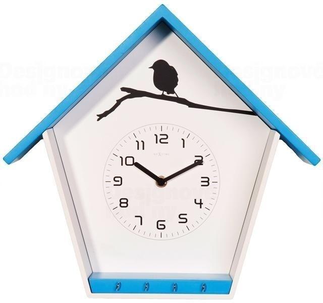 NeXtime Dřevěné nástěnné hodiny s motivem ptačí budky modré Nextime 3109bl