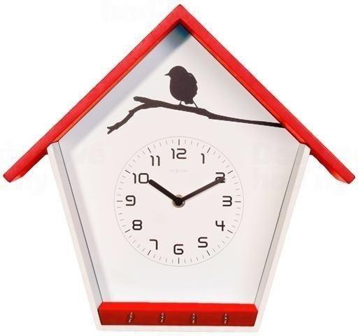 NeXtime Nástěnné hodiny červené Ptačí budka Nextime 3109ro