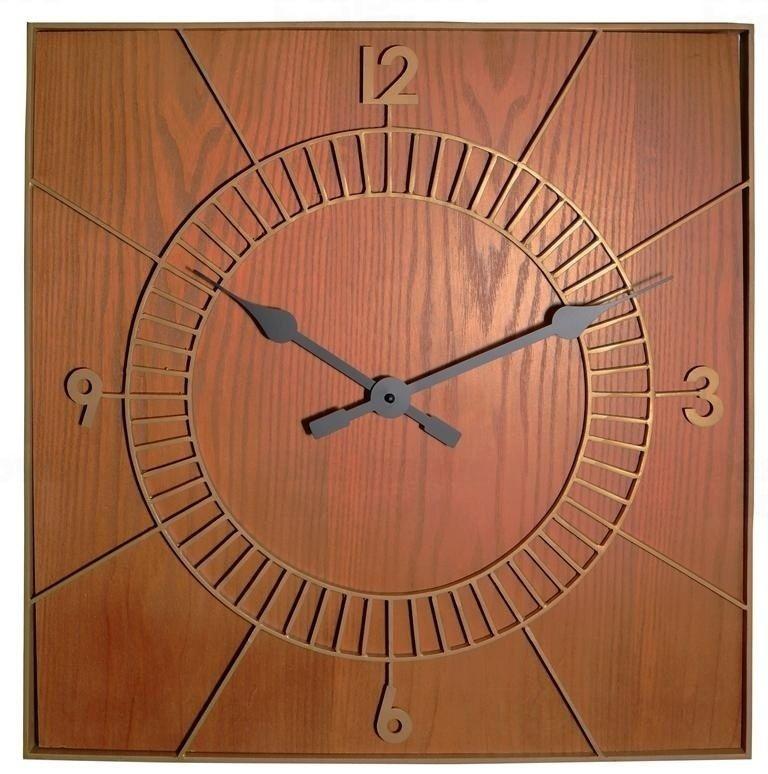 NeXtime Designové nástěnné hodiny 3112br Nextime Wood Square 50cm