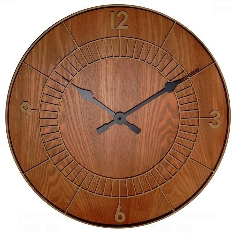 NeXtime Designové nástěnné hodiny 3113br Nextime Wood Round 50cm