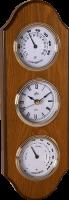 Dřevěné nástěnné hodiny s teploměrem a vlhkoměrem..01526