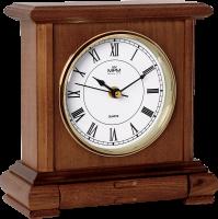 Dřevěné stolní hodiny s římskými číslicemi a praktickou zásuvkou..01533