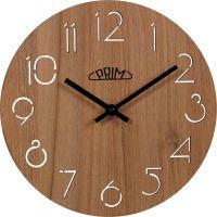 Nástěnné hodiny Nástěnné dřevěné hodiny PRIM hnědé E01P.3942.50 Nástěnné hodiny