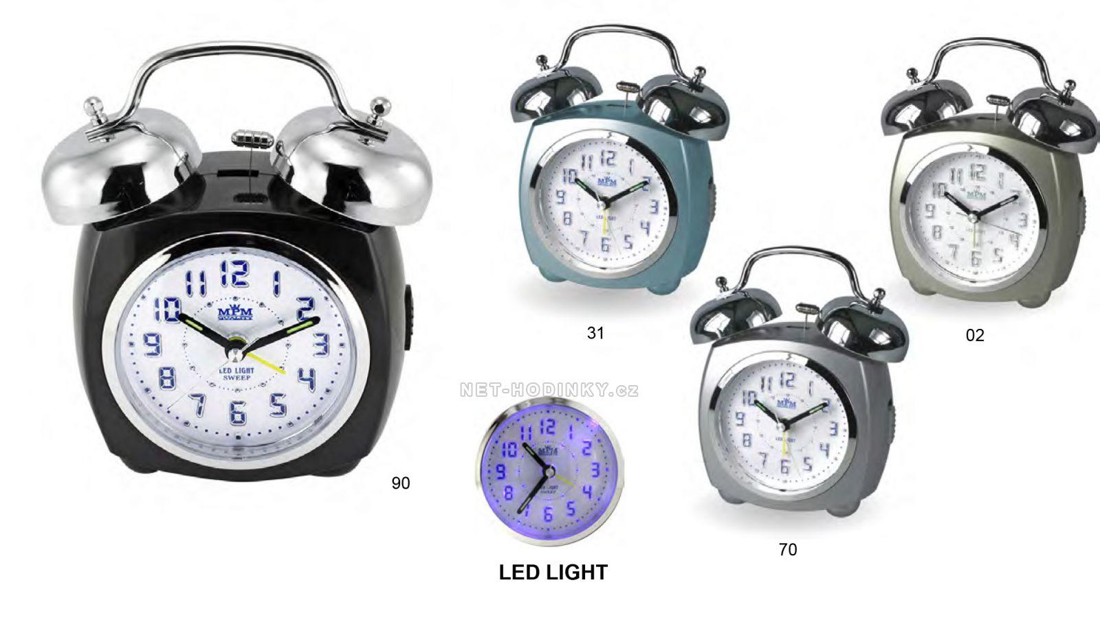 Klasický plastový analogový budík s prvky kovu a s LED podsvícením C01.2554