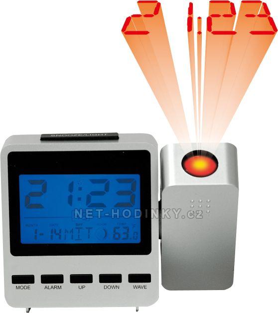 Stolní digitální budík s projekcí času, teploměrem a kalendářem stříbrná skladem 70 - stříbrná