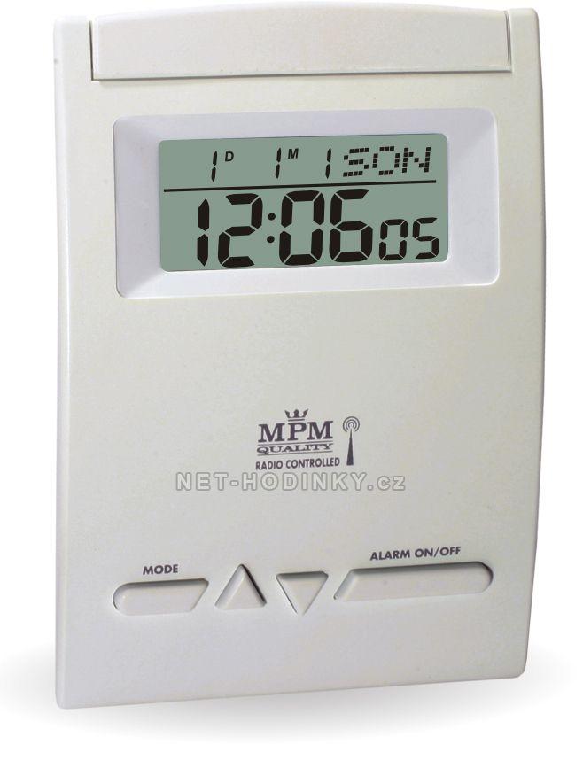 Bílý digitální rádiem řízený budík s LED podsvíceným displejem C02.2765