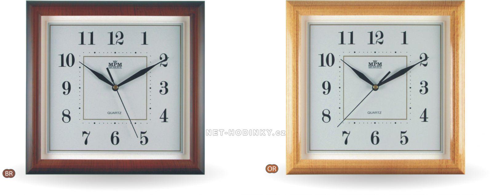 nástěné hodiny na zeď s tichým chodem, hodiny na stěnu hranaté 50.SW - hnědá