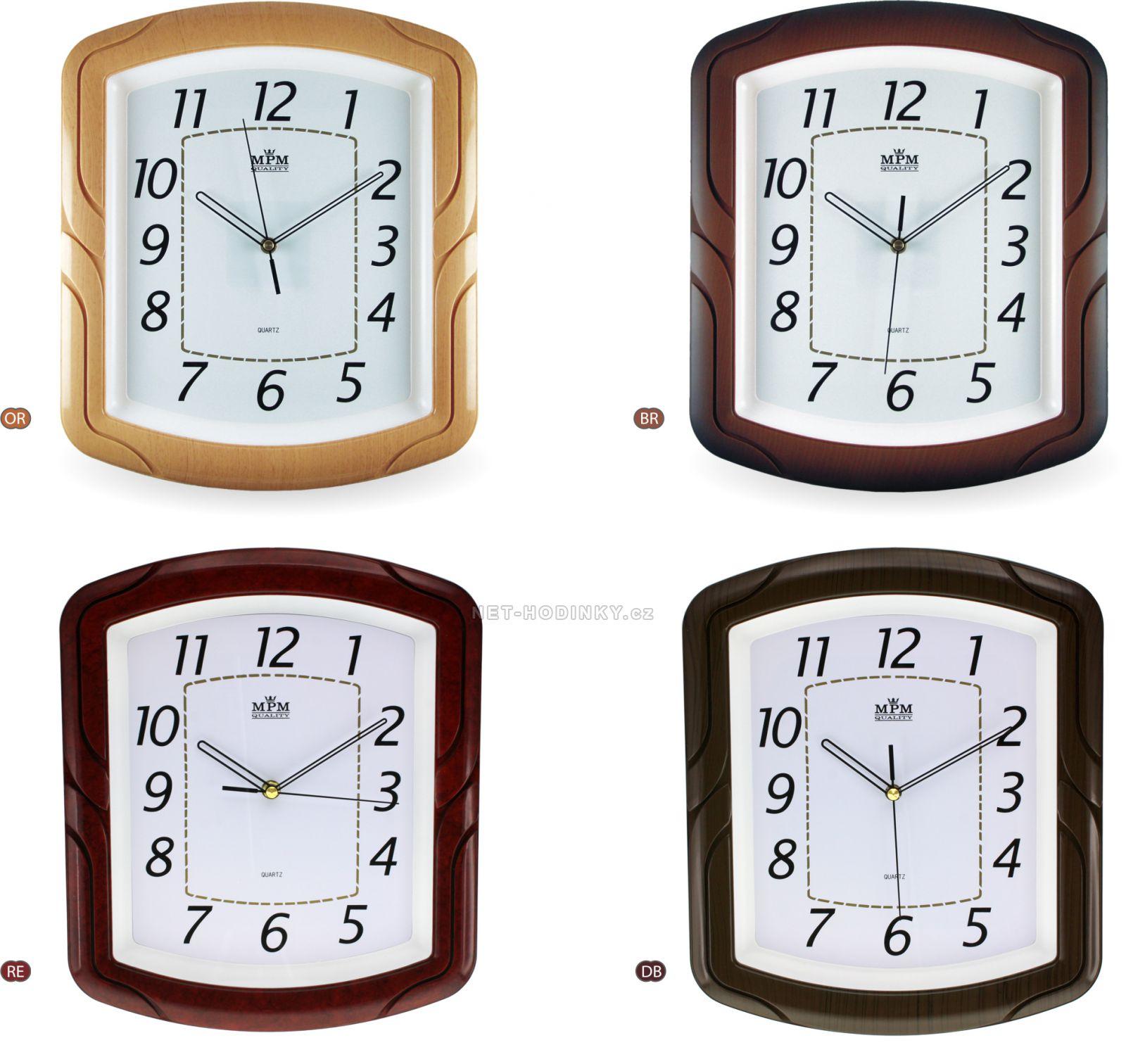 Tmavě hnědé nástěnné hodiny v hranatém tvaru E01.2417
