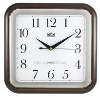 Čtvercové nástěnné hodiny s imitací dřeva E01.2440