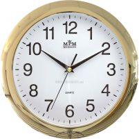Nástěnné kulaté hodiny ve zlatém nebo stříbrném rámu s minerálním sklem E01.2452