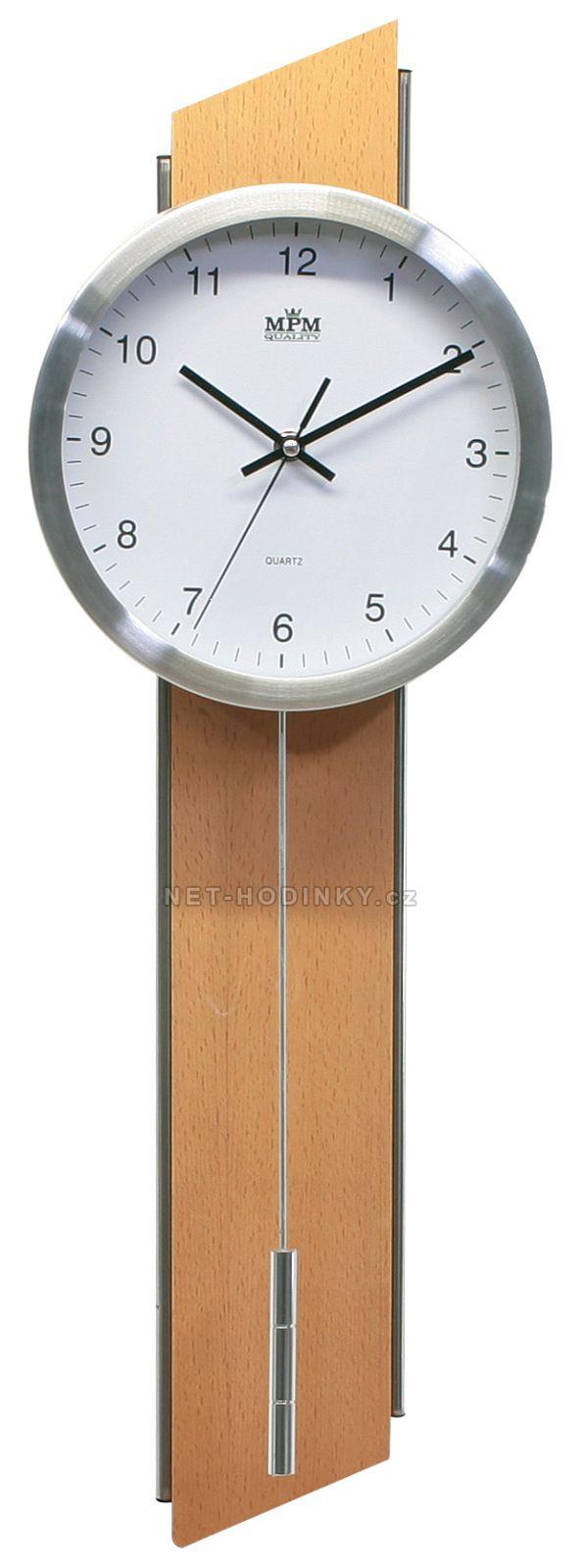 Jednoduché moderní nástěnné hodiny s kyvadlem E01.2462