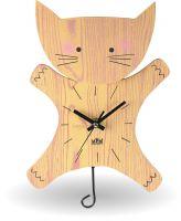 Roztomilé dřevěné nástěnné hodiny pro děti ve tvaru kočičky E01.2520