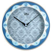 Stříbrno-modré kovové hodiny se vzorovaným ciferníkem E01.2525