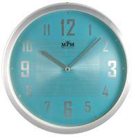 Stříbrné kovové hodiny s perleťovým modrým/růžovým ciferníkem E04.2825