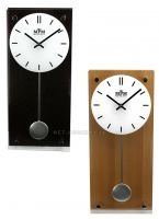 Elegantní dřevěné  kyvadlové hodiny s prvky kovu..0116