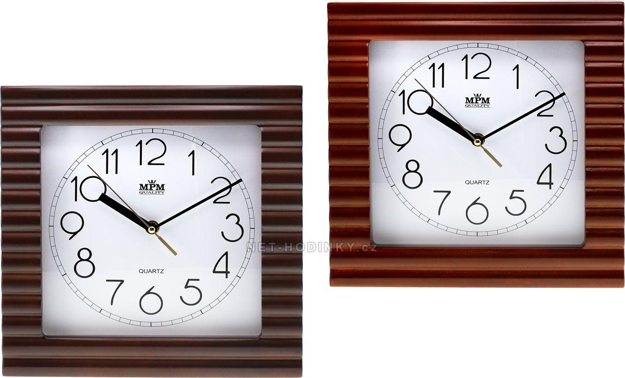 Nástěnné hodiny ve vlnovitém dřevěném rámu E07.2700