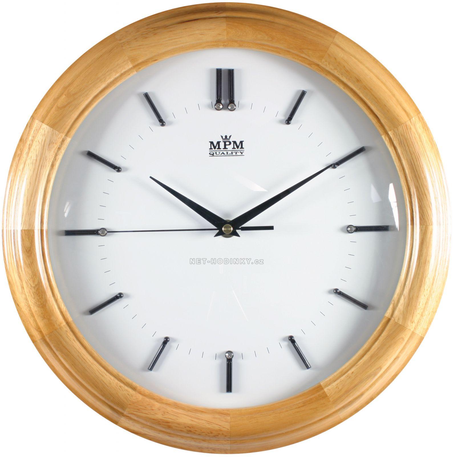 Dřevěné kulaté hodiny s plynulým chodem E07.2828