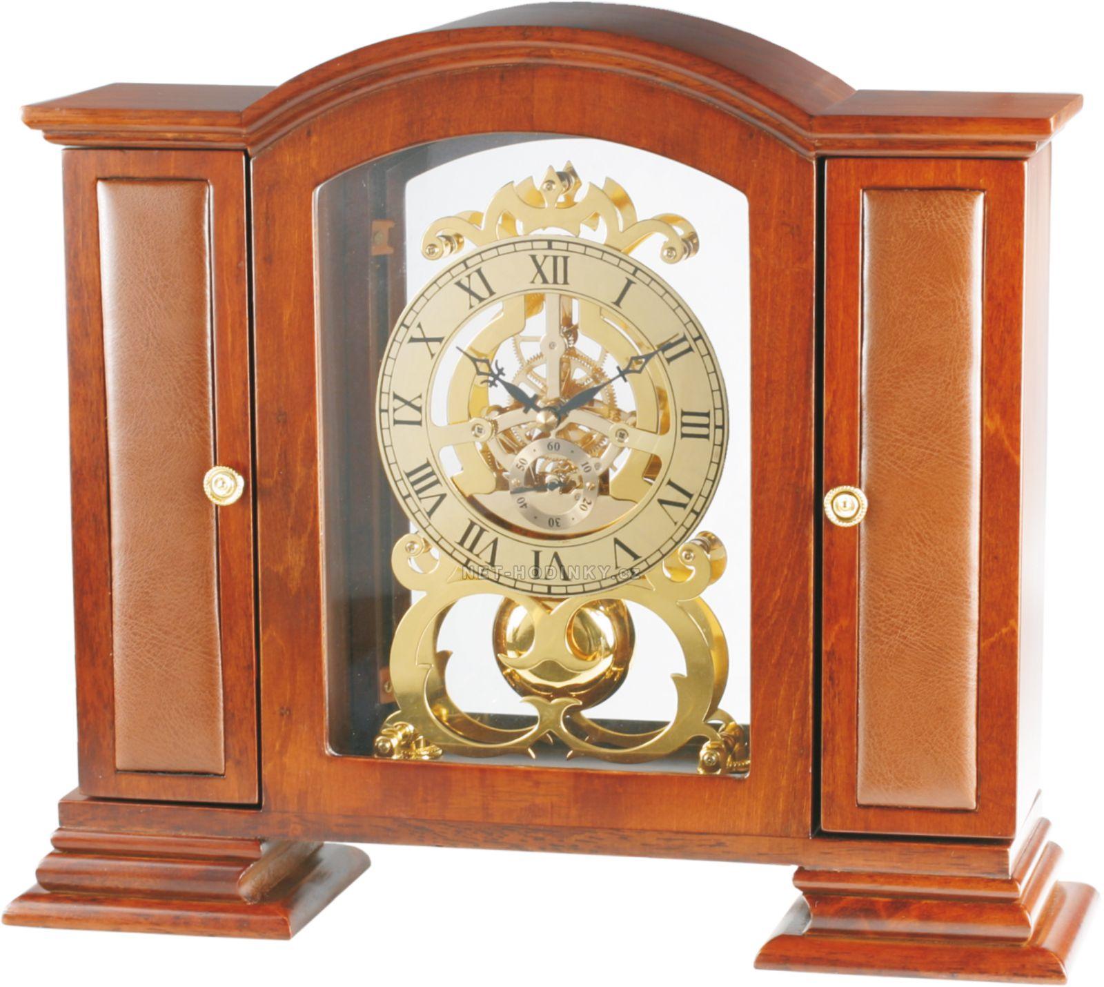Luxusní dřevěné stolní hodiny s pozlaceným a bohatě zdobeným ciferníkem I05.1214