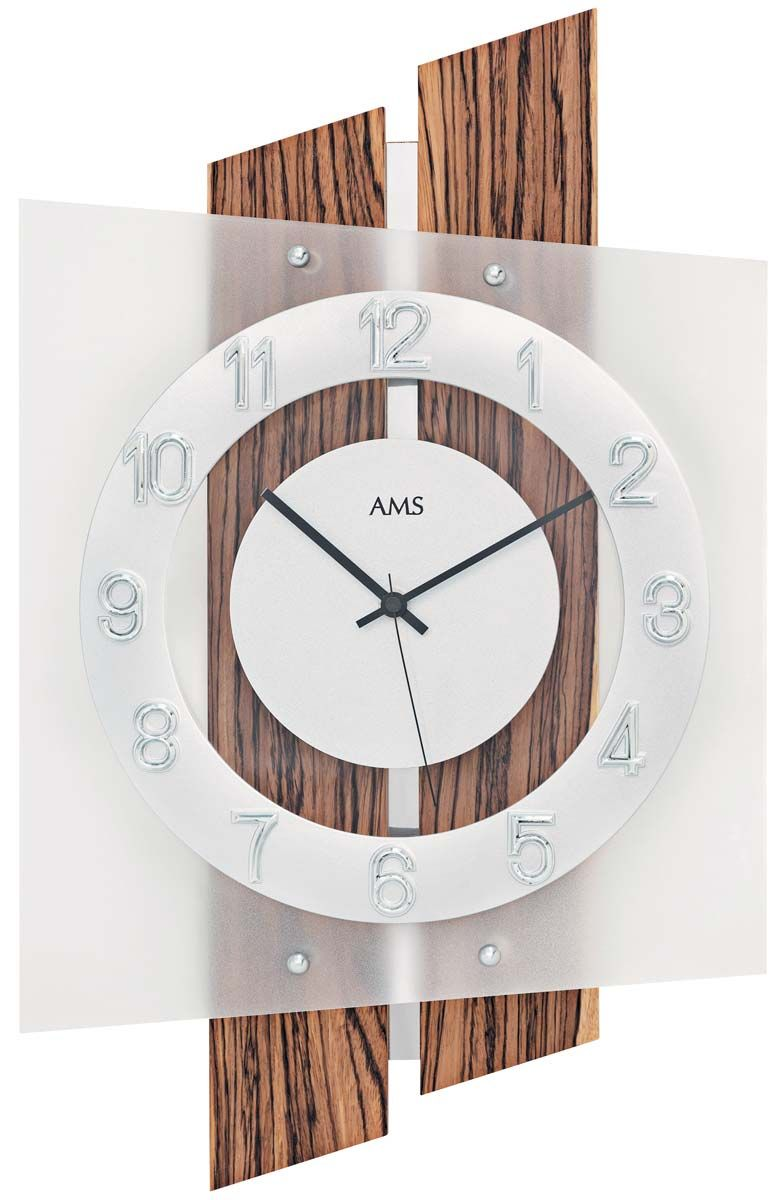 nástěnné rádiem řízené hodiny ams 5531 čtvercové dřevo masiv