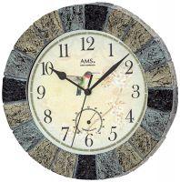Rádiem řízené hodiny kulaté ams 5979 motiv pták Kolibřík a květiny