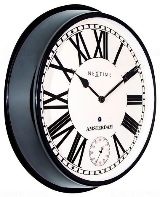 NeXtime Celokovové velké hodiny v retro stylu s římskými číslicemi Nextime Amsterdam 3128zw