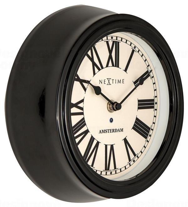 NeXtime Kovové nástěnné hodiny retro styl Nextime Amsterdam 3152zw 22 cm