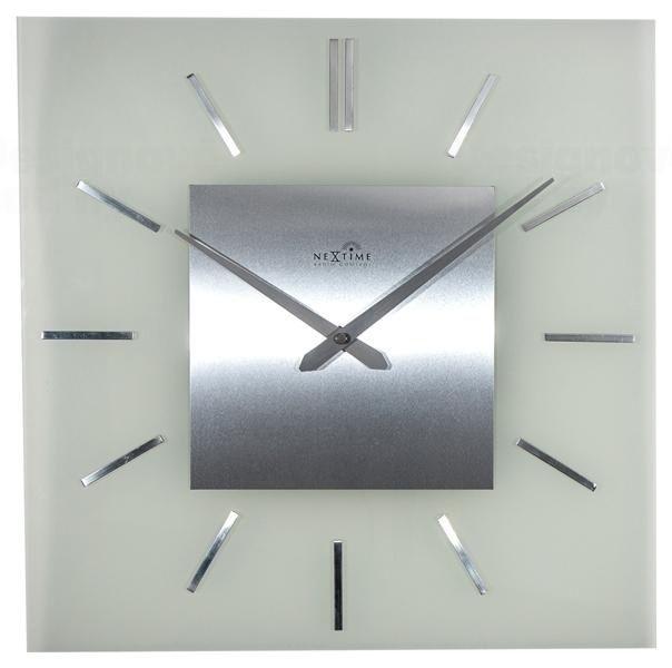 NeXtime Designové nástěnné hodiny řízené signálem DCF 3148 Nextime Stripe Square 40cm